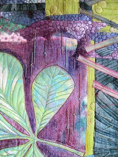 Hilary B gets her 3rd chestnut leaf gelli print piece quilted - gorgeous!