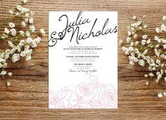 Wedding Invite – Roses Printable Wedding Invitation Suite