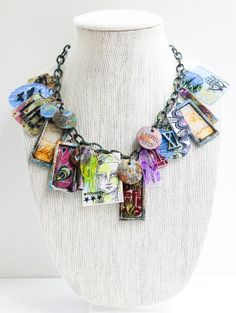 Mixed Media Necklace   Self Reflections by wendymorris at @Studio_Calico. Do you spot the stamp from my All the Gals set?