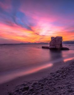 Pink Sunset, Water Lighting, Antibes, Europe, France, Celestial, Outdoor, Outdoors, Outdoor Games