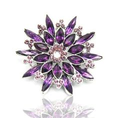 Purple & Violet Color Austrian Rhinestone Star Flower Designed Silver-Tone Brooch Pin — This… Star Wars, Star Flower, Shades Of Purple, Jewelry Branding, Purple Flowers, Flower Designs, Jewelry Stores, Brooch Pin, Wedding Jewelry