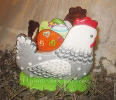 Пряничная шкатулка Пасхальная Курочка - разноцветный,пряник расписной
