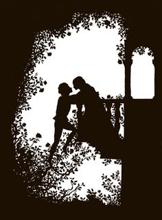 A nice silhouette design~ I wanted to do something simliar, but sans Romeo and Juliet and maybe a major architectural change? Romeo And Juliet Drawing, Romeo And Juliet Poster, Silhouettes, Romeo Und Julia, Wolf Tattoo Sleeve, Juliet Balcony, Romeo Y Julieta, A Dance With Dragons, Silhouette Art