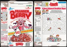 Cereal Box Designs | General Mills - Frankenberry cereal box - Ghost Marshmallows - 1992 ...