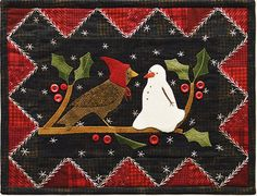 Winter Bird and Snowman Wool Table Mat -  Wool Applique Patterns - Winter Decor - January #1321 by SimplyUniqueBySheila on Etsy