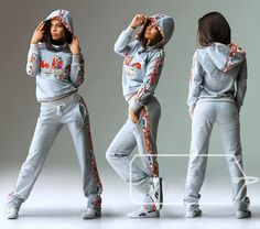 #hoodie #tracksuit #pants Stylish womens floral print hooded zip-collar tracksuit.
