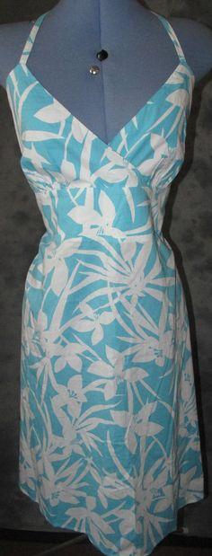 New Look,ladies,size 16,blue&white,halterneck,calf length,cotton,sun dress.