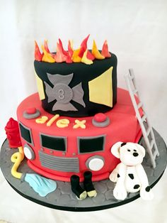 Fireman themed birthday cake, by Amy Hart