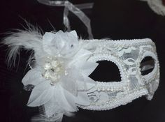 White and Cream Masquerade Bridal Mask Mascarade by creatingwithni