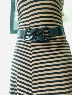f543df6638 Details about The Limited Black Patent Leather Stretch Wide Waist Belt Size  Large MSRP $39