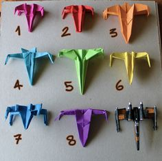 i folded these eight origami x-wing starfighters using different models from several sources. here's where you can find instructions to fold your own. Diy And Crafts, Crafts For Kids, Arts And Crafts, Paper Crafts, Star Wars Origami, Origami Stars, Star Wars Birthday, Star Wars Party, Anniversaire Star Wars