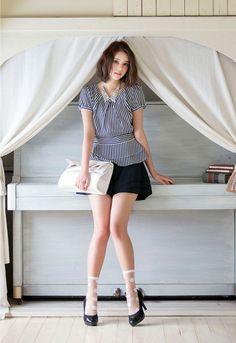 Cecil Kishimoto / model.  Ladies fashion by IMAGE (Company of mail order).  Mono tone style.