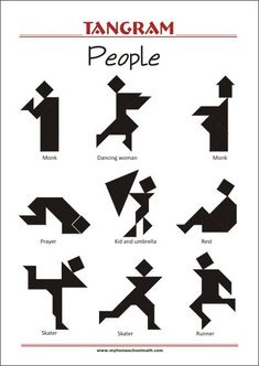 Tangram People - Worksheets with solutions - try to solve the puzzle shapes Tangram Printable, Free Printable Worksheets, Tangram Puzzles, Maths Puzzles, Kindergarten Learning, Kindergarten Worksheets, Teaching, Geometric Shapes Art, Pattern Worksheet