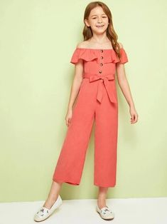 Girls Button Front Ruffle Overlay Belted Solid Jumpsuit – kidenhome