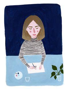 Self portrait / gouache painting illustration