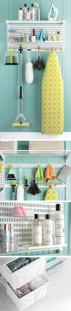 Depend on elfa when it's time to clean up your act! elfa utility Hooks and Holders provide out-of-the-way storage for ironing boards, mops, brooms and dusters. An elfa utility Board combined with elfa utility Shelves, Boxes and Hooks creates a sophisticated, functional update on the classic pegboard system. All elfa components are adjustable, so the solution is completely flexible!