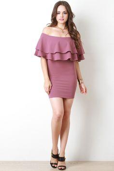 Double Flutter Bardot Dress