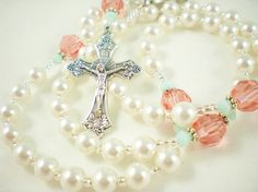 White Coral Mint Catholic Baptism Rosary for a Baby by RosyCathy, $35.00