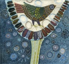 Nancy Nicholson http://nancynicholson.tumblr.com/post/45376445917/embroidery-using-wool-silk-fabric-scraps-and