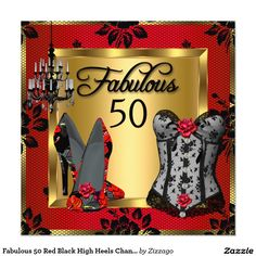 Fabulous 50 Red Black High Heels Chandelier Corset 5.25x5.25 Square Paper Invitation Card
