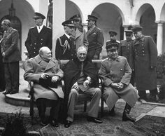 British Prime Minister, Winston Churchill, U.S. President Franklin Roosevelt, and Soviet leader Joseph Stalin met at the Yalta conference in February, 1945. The leaders discussed their joint occupation of Germany and plans for postwar Europe. Photo credit: U.S. Army Ww2 Leaders, World Leaders, Casablanca, Teaching American History, Porto Rico, Bolivia Travel, Ww2 History, Today In History, Iconic Photos