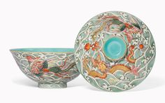 """A moulded Famille Rose """"Dragon and Phoenix """" Bowl and Cover """". Qianlong - JiaQing Period (1736-1820)"""
