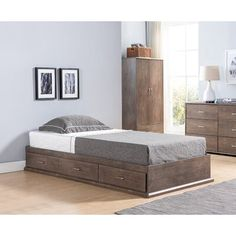 Harriet Bee Minamalistic meets functionality with the Kidwell platform bed. Offering a sleek look that compliments most colors with a neutral wood tone and silver chrome accents. Three storage drawers help store clothing, extra linens and bedding. Available in full and twin size. Size: Full, Bed Frame Color: Walnut Oak | Harriet Bee Kidwell Platform Bed w/ Storage, Bed Frame, Wood in Walnut Oak, Size Full | Wayfair