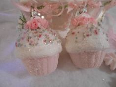 2 Sparkling Pink Shabby Cupcake Christmas Ornaments Chic Roses Glitter | eBay