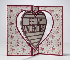 handmade Valentine from Birds Cards ... heart swing card ... free cutting file to do this on the blog ... luv the sweet rose print paper ....