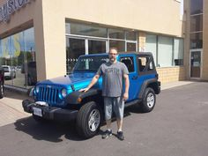 Shawn looking very happy to be driving away in his new Jeep Wrangler. Thanks for your business and enjoy your new ride. #HappyClient #JeepWrangler #NewRide