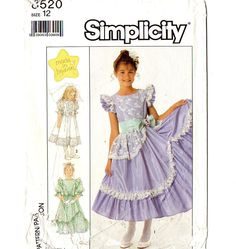 Simplicity 8520 Girls Party Dress 80s Vintage Sewing Pattern Uncut Size 12 Bust 30 Formal Ruffles and Lace by patternmania on Etsy