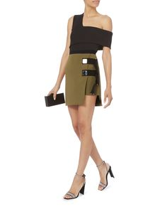 Double Strap Army Mini Skirt, GREEN