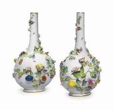 A PAIR OF MEISSEN PORCELAIN FLOWER-ENCRUSTED BOTTLE VASES--late 19th century