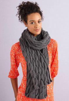 Grey Cabled Scarf (Knit)