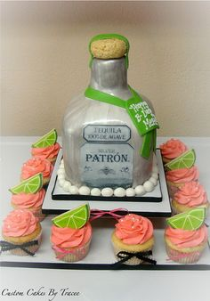 Patron bottle cake and cuppies by Custom Cakes By Tracee, via Flickr