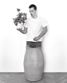 Ok Matt. The concept is; you need to stand in a pot and serenade a potted plant.any issues with that? The Adjustment Bureau, Andy Gotts, Matt Damon, British Actors, High Waisted Skirt, Celebs, Photoshoot, Black And White, Skirts
