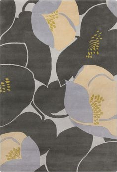 Amy Butler Field Poppy Rug in Grey
