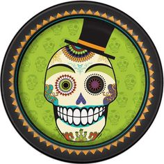 """9"""" Day Of The Dead Halloween Party Plates, 8ct"""