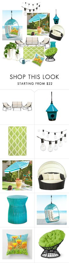 """Perfect Summer Backyard"" by kavitaarts on Polyvore featuring interior, interiors, interior design, home, home decor, interior decorating, Alpine, nuLOOM, Crate and Barrel and Grandin Road"