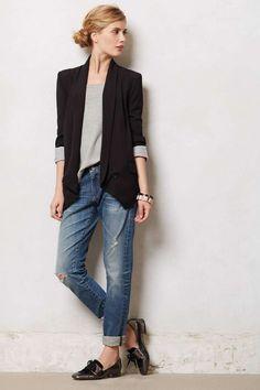 Boyfriend jeans, boyfriend look Loafers With Jeans, How To Wear Loafers, Blazer With Jeans, Jeans Dress, Zara Blazer, Outfit Jeans, Black Skinnies, Slim Jeans, Denim Pants