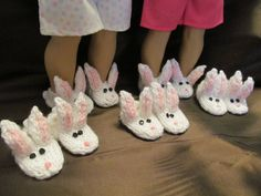 Bunny Patch doll Slippers Fun Wear by SewManyThingsbyNancy Bunny Slippers, Cute Slippers, American Girl Doll Shoes, Easter Gift, Winter Wear, Clothing Patterns, Hand Knitting, Lounge Wear, Patches