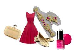 fuchsia bridesmaid by galeriamagia on Polyvore featuring moda, Ellie Shoes, Diane Von Furstenberg, By Terry and Essie