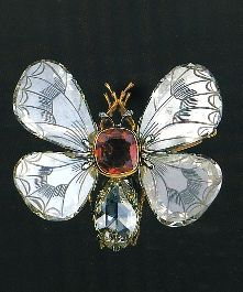 Engraved diamond and ruby bee brooch, 1894