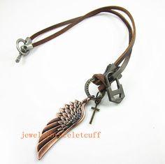 Jewelry leather necklace chain necklace by jewelrybraceletcuff, $9.00