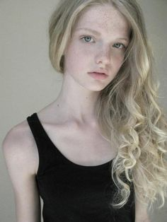 Ice blond, braided hair with undercut, but her face is pretty good. Beauté Blonde, Blonde Women, Modelo Albino, Blonde With Freckles, Natural Blondes, Gray Eyes, Pale Skin, Looks Style, Curly Hair Styles