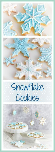 Snowflake cookies decorated with blue and white royal icing.