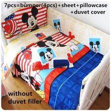 Promotion! 6/7pcs Mickey Mouse Newborn Baby Bedding Set 100%Cotton Set Baby Crib Bedding Set ,120*60/120*70cm(China (Mainland))