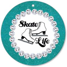 Figure Skating Teal Glitter and Rhinestone Inspired Canvas Christmas O – Purposely Designed