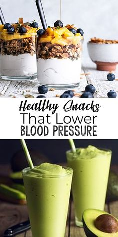 Snacking can lead to health issues, such as weight gain and high blood pressure, but this list of healthy snacks can actually lower blood pressure. Weight Loss Smoothies, Healthy Smoothies, Healthy Snacks, Pina Colada, Heart Healthy Recipes, Gourmet Recipes, Healthy Food Alternatives, Banana Drinks, Fat Loss Drinks