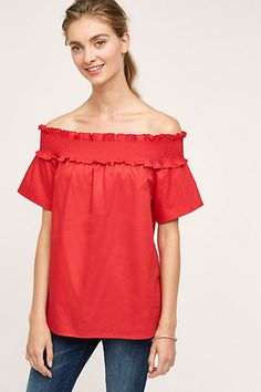 Zosia Off-The-Shoulder Poplin Tunic #anthropologie